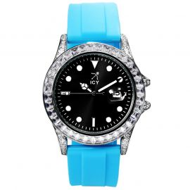 40mm Black Luminous Dial Alloy Watch with Blue Rubber Strap