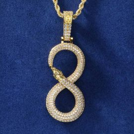 "Iced Black Mamba""8"" Ouroboros  Pendant in Gold"