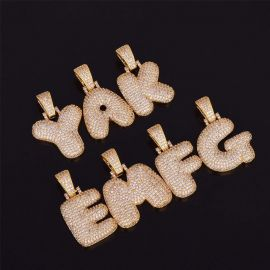 Iced 26 Bubble Letters Pendant In  Gold