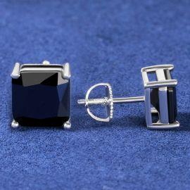 Black Radiant Cut Stone Stud Earring in White Gold