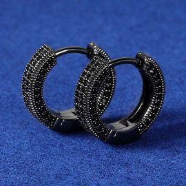 Iced Hoop Earring In Black