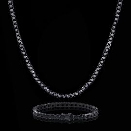 5mm Black Stones Tennis Chain Set in Black Gold