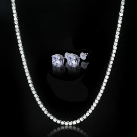 5mm Tennis Chain in White Gold + Round Cut Stud Earrings Set