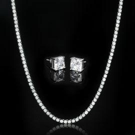 5mm Tennis Chain + Radiant Cut Stud Earrings Set in White Gold