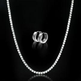 5mm Tennis Chain + Stainless Steel Hoop Earrings Set in White Gold