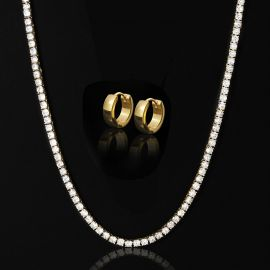 5mm Tennis Chain + Stainless Steel Hoop Earrings Set in Gold