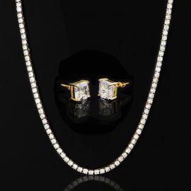 5mm Tennis Chain + Radiant Cut Stud Earrings Set in Gold