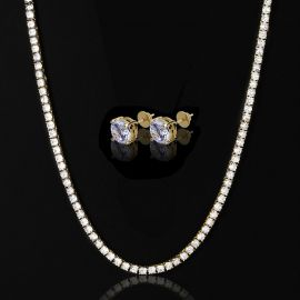 5mm Tennis Chain in Gold + Round Cut Stud Earrings Set