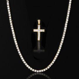5mm Tennis Chain + Princess Cut Cross Pendant Set in Gold