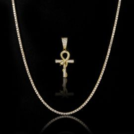 3mm Tennis Chain + Ankh Ouroboros Pendant Set in Gold