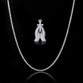 3mm Tennis Chain + Praying Hands with Cross Pendant Set in White Gold