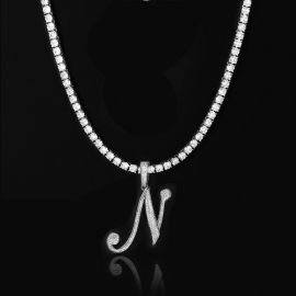 5mm Tennis Chain in White Gold + Bold Cursive A to Z Letters Pendant Set