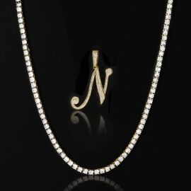 5mm Tennis Chain in Gold + Bold Cursive A to Z Letters Pendant Set