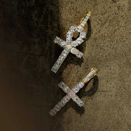 Iced Cross&Ankh Pendant Set in Gold