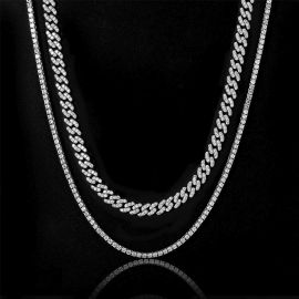 3mm Tennis Chain + 8mm Cuban Link Chain Set in White Gold