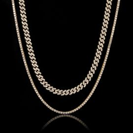 3mm Tennis Chain + 8mm Cuban Link Chain Set in Gold