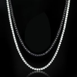 5mm Tennis Chain in White Gold + 5mm Black Stones Tennis Chain in Black Gold Set