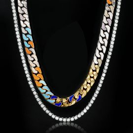 5mm Tennis Chain in White Gold + 13mm Multi-color Half-Iced Cuban Chain Set