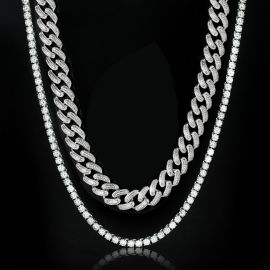 5mm Tennis Chain + 20mm Square and Round Stones Cuban Chain Set in White Gold
