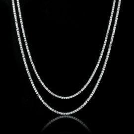 3mm Tennis Chain Set in White Gold