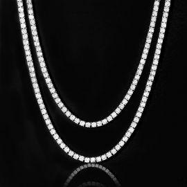 5mm Tennis Chain Set in White Gold