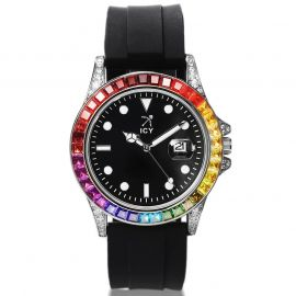 40mm Gradient Stones and Black Luminous Dial Watch with Black Rubber Strap