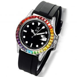 Rainbow White Gold Watch with Black Luminous Dial