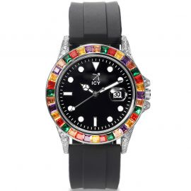 40mm Multicolor Stones and Black Luminous Dial Watch with Black Rubber Strap