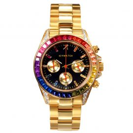 40mm Rainbow Iced Black Dial Watch in Gold