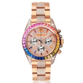 Rainbow Iced  Dial Watch in Rose Gold