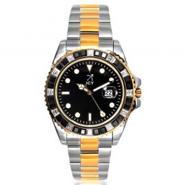 40mm Two-tone Iced Black Dial Watch