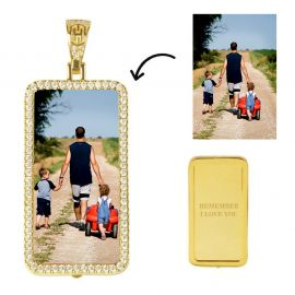 Custom Rectangle Photo Pendant in Gold