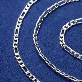 3mm Figaro Chain in White Gold