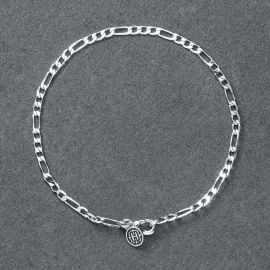 3mm Figaro Bracelet in White Gold