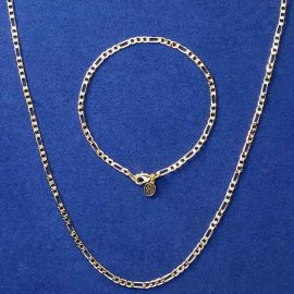 3mm Figaro Link Chain Set in Gold