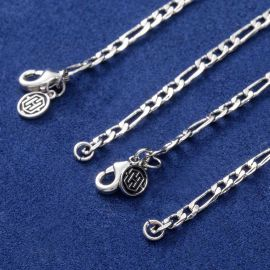 3mm Figaro Link Chain Set in White Gold