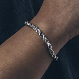 5mm Rope Bracelet in White Gold