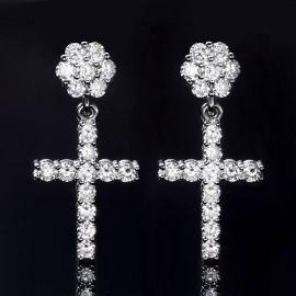 Flower Cluster Cross  Earrings in White Gold