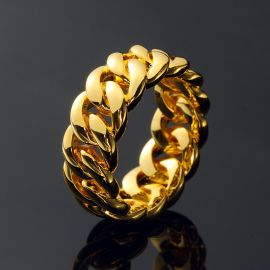 10mm Cuban Rings in Gold