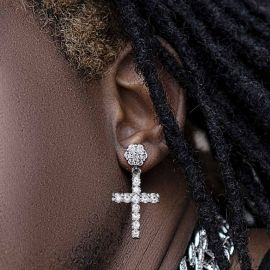 Flower Cluster Cross Asymmetric Earrings in White Gold