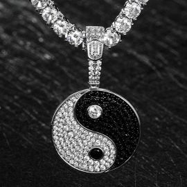 Iced Yin Yang pendant in White Gold