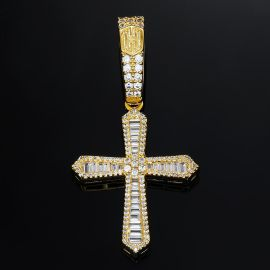 Halo Baguette Stones Cross Pendant in Gold
