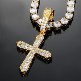 Halo Baguette Stones Cross Pendant in Gold