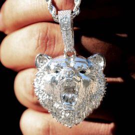 Roaring Bear Pendant in White Gold