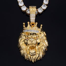 King Crown Lion Pendant in Gold