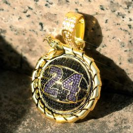 "Iced Black Mamba ""24"" basketball Ouroboros pendant in Gold"