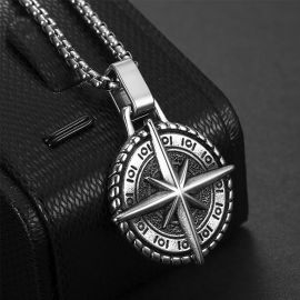 North Star Antique Titanium Steel Pendant