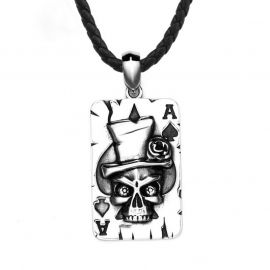 Skull Ace of Spade Poker Card Stainless Steel Pendant