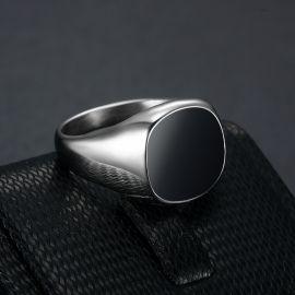 Black Square Signet Titanium Steel Ring in White Gold
