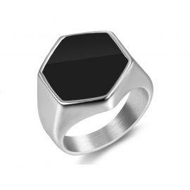 Black Hexagon Signet Titanium Steel Ring in White Gold